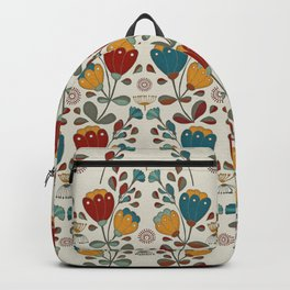Vintage Ethno Flowers in red, blue and yellow on beige Backpack