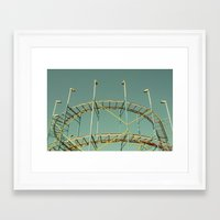 coasters Framed Art Prints featuring rollercoaster by Bianca Green