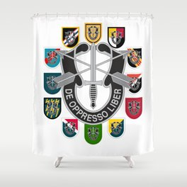 De Oppresso Liber Army Special Forces Group Beret Flashes Shower Curtain