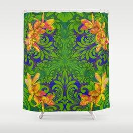 Lush Floral Plumeria Mandala Shower Curtain