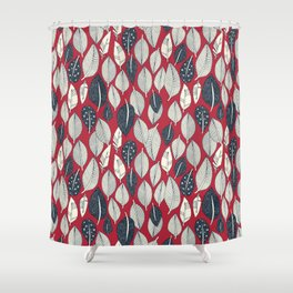 leaves and feathers red Shower Curtain