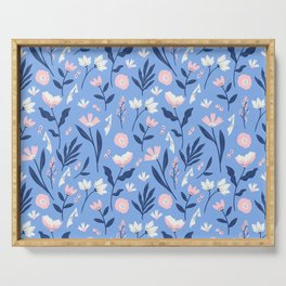Floral Blue Pattern Serving Tray