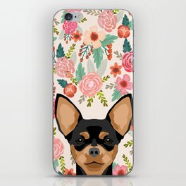 Chihuahua dog floral pet pure breed gifts for chihuahua black and tan iPhone Skin