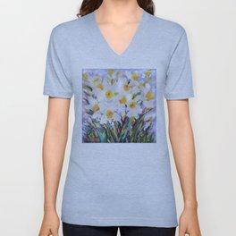 White Daffodil Meadow Unisex V-Neck