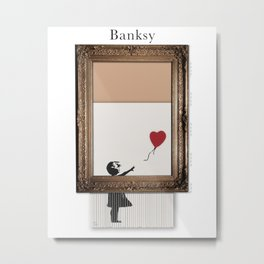 Girl With the Red Balloon Banksy Shredded Metal Print