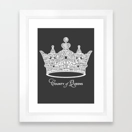 County of Queens | NYC Borough Crown (WHITE) Framed Art Print