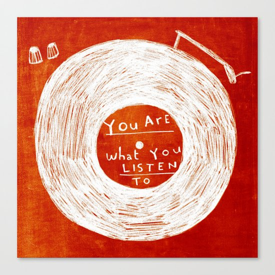you are what you listen to, RED Canvas Print