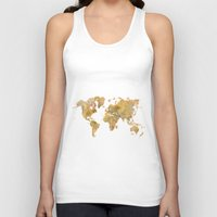 vintage map Tank Tops featuring  World Map Yellow Vintage by City Art Posters