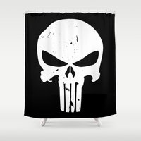 punisher Shower Curtains featuring The Punisher by sokteulu