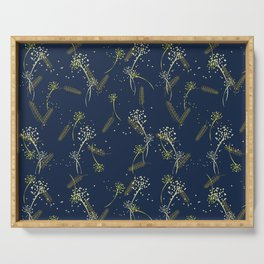 Whimsical wheat and dandelion pattern on french navy Serving Tray