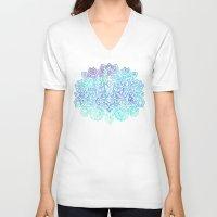 indigo V-neck T-shirts featuring Indigo & Aqua Abstract - doodle painting by micklyn