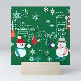 Winter fun green Mini Art Print