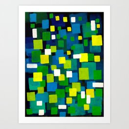 """Original Abstract Acrylic Painting by  """"City Lights"""" Colorful Geometric Square Pattern Gre Art Print"""