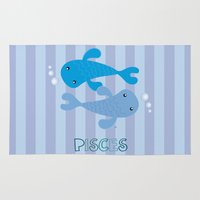 pisces Area & Throw Rugs featuring Pisces by Esther Ilustra