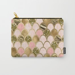 Rose gold blush mermaid scales Carry-All Pouch