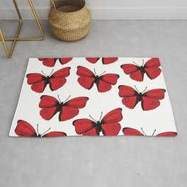 Red butterfly Spring Art Rug
