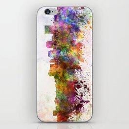 Dayton skyline in watercolor background iPhone Skin