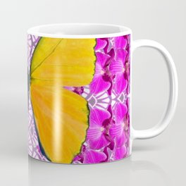 FUCHSIA COLORED  ORCHIDS &  YELLOW  BUTTERFLY FLORAL Coffee Mug
