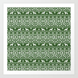 Cocker Spaniel fair isle christmas pattern dog breed holiday gifts green and white Art Print