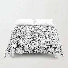 Pentagon Flower Black & White Duvet Cover
