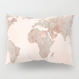 Rosegold Marble Map of the World Pillow Sham