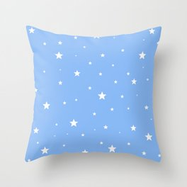 Scattered Stars on Sky Blue Throw Pillow