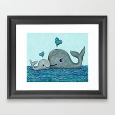 Whale Mom and Baby with Hearts Framed Art Print