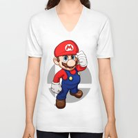 mario bros V-neck T-shirts featuring Mario by Ryan Ketley