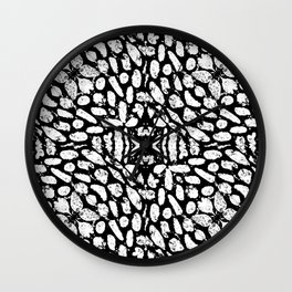 Black and White Grunge Abstract Pattern Wall Clock