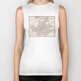 Vintage Map of Birmingham Alabama (1901) Biker Tank