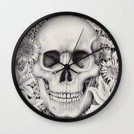 Skull and Flowers Vanitas Wall Clock