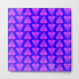 Purple hearts with stripes on the eggplant background. Metal Print
