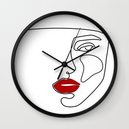 Woman Red Lip Drawing in One Line Wall Clock