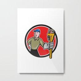Plumber Presenting Monkey Wrench Circle Cartoon Metal Print