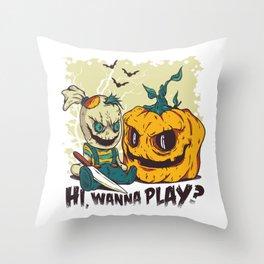 Evil Halloween Doll - Wanna Play? Throw Pillow