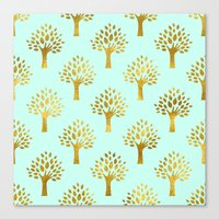 gold foil Canvas Prints featuring Mint Gold Foil 02 by Aloke Design