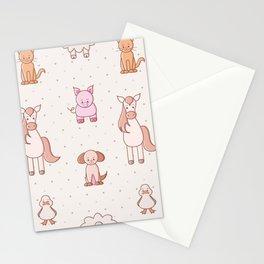 Kawaii farm animal pattern Stationery Cards