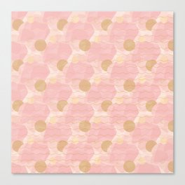 Blush and gold camouflage Canvas Print