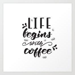 Coffee lettering Art Print