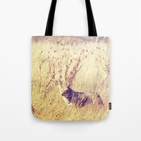 coyote Tote Bags featuring Coyote  by Shelby Babbert Photography