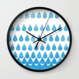 Rain Showers in Blue Wall Clock