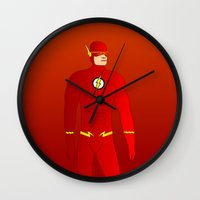 the flash Wall Clocks featuring Flash by pablosiano