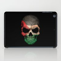 palestine iPad Cases featuring Dark Skull with Flag of Palestine by Jeff Bartels