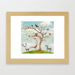 Tree with animals.Bunch of cute little creatures gathered on the branches of tree Framed Art Print