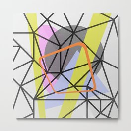 Tangled Retro - Abstract, Mid Century, Pastel Design Metal Print