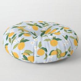 Gouache Oranges Blue Floor Pillow