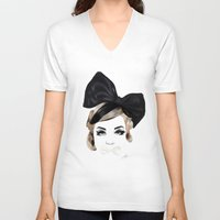 bows V-neck T-shirts featuring Bows by SoulDeep