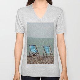 Vintage beach deckchairs Unisex V-Neck