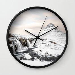 Waterfall Kirkjufell Foss in Iceland Wall Clock