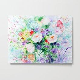 """Watercolor Painting """"Good Mood Flowers Metal Print"""